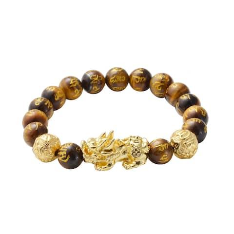 Goldtone Yellow Tigers Eye Beaded Bracelet Size 6.5 Inch Ct 153.5 - Bracelet 6.5''