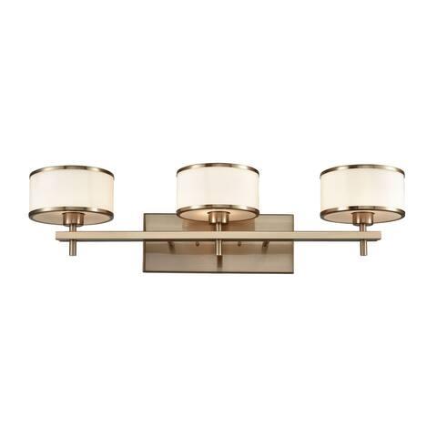 Utica 3-Light Vanity Lamp in Satin Brass with Opal White Glass
