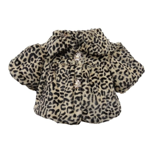 Baby Girls Brown Leopard Spotted Pattern Faux Winter Coat 12M-24M