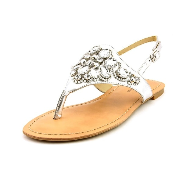 INC International Concepts Gena Women Open Toe Synthetic Silver Thong Sandal