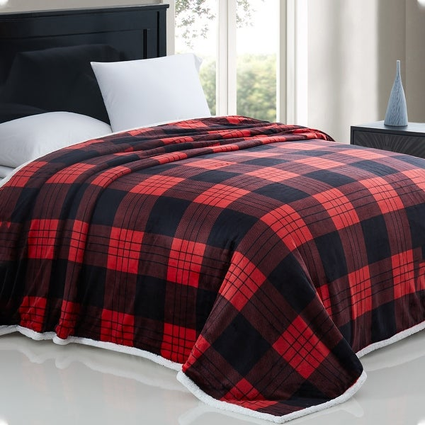 Modern Threads Printed Plaid Flannel Reversible Sherpa Blanket Throw. Opens flyout.