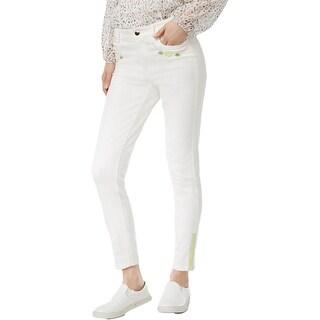 Cynthia Rowley Womens Skinny Jeans Denim Embroidered