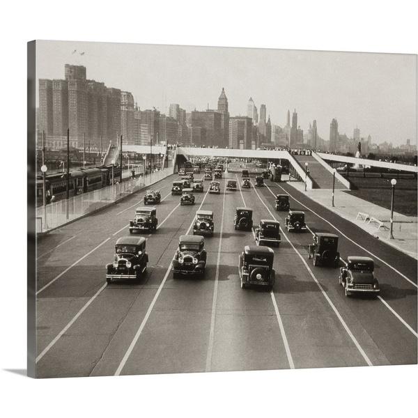 """1930's Automobile Traffic Chicago Illinois USA"" Canvas Wall Art"