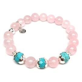 Pink Rose Quartz 'Mia' Stretch Bracelet, Sterling Silver
