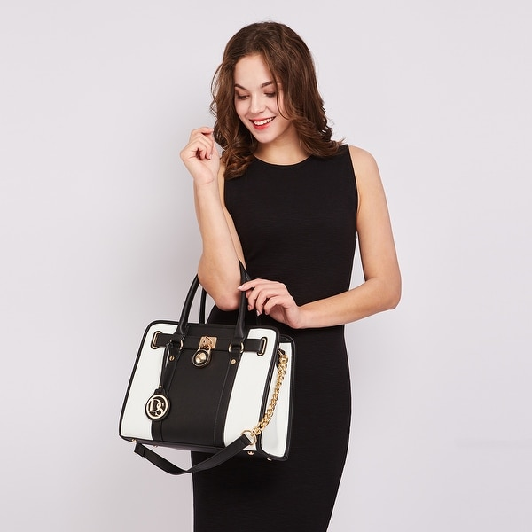 Dasein Two-Tone Gold Chain Strap Satchel Handbag with Matching Wallet. Opens flyout.