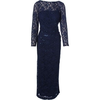 Lauren Ralph Lauren Womens Petites Evening Dress Lace Sequinned