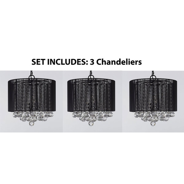 *Set Of 3* Crystal Chandelier With Large Black Shades & Balls