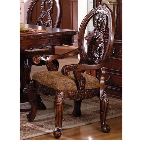 Furniture of America Naiz Traditional Cherry Arm Chair Set of 2