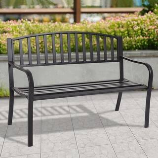 costway 50 patio garden bench park yard outdoor furniture steel slats porch chair seat