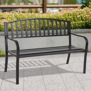 Costway 50u0027u0027 Patio Garden Bench Park Yard Outdoor Furniture Steel Slats  Porch Chair Seat