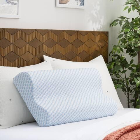Linenspa Essentials Gel Memory Foam Contour Pillow - Blue