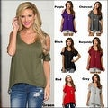 Women Casual Off the Shoulder Short Sleeve Loose Jersey Tunic Top - Thumbnail 8