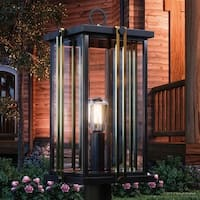 """Luxury Craftsman Outdoor Post Light, 21.5""""H x 10""""W, with Craftsman Style, Gold Trimmed Design, Estate Bronze Finish"""