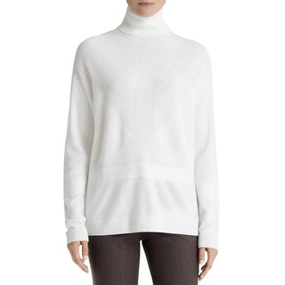 Lafayette 148 Womens Sweater Ribbed Turtleneck