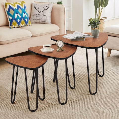 VECELO Wood 3-piece Nesting Table Set