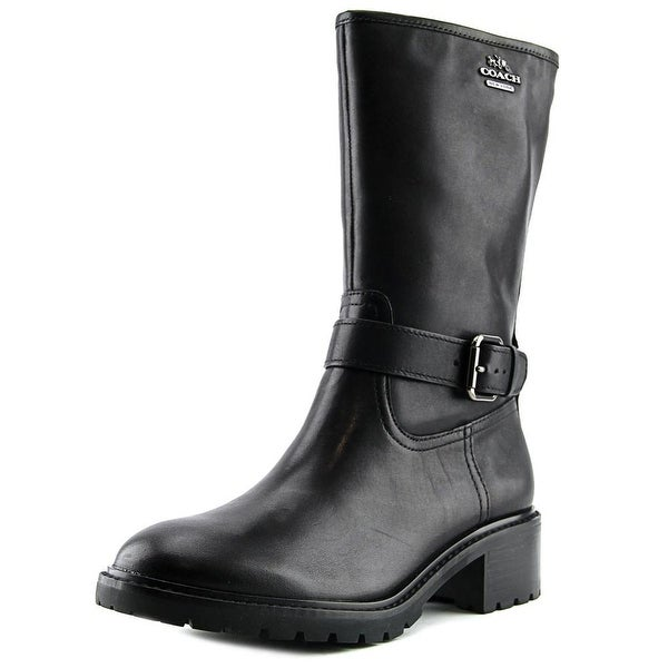Coach Genie Women Round Toe Leather Black Mid Calf Boot