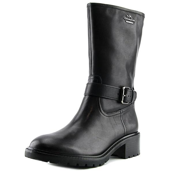 Coach Genie Women  Round Toe Leather Black Mid Calf Boot