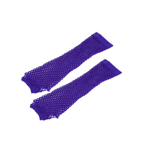 Women Elbow Length Elastic Fishnet Fingerless Arm Warmers Gloves Pair