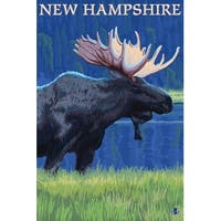 NH - Moose in the Moonlight - LP Artwork (Art Print - Multiple Sizes Available)