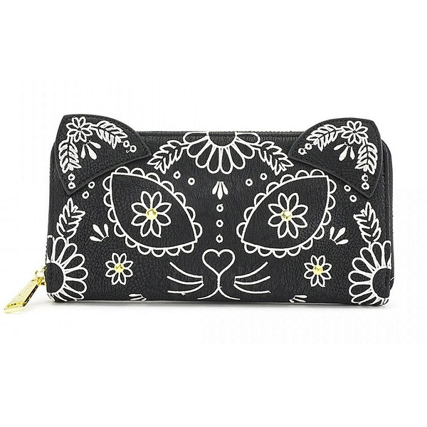 Loungefly Embroidered Sugar Skull Cat with Ears Day of the Dead Black Wallet - L