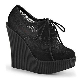 Demonia Women's Creeper 307 Wedge Oxford Black Vegan Suede/Mesh