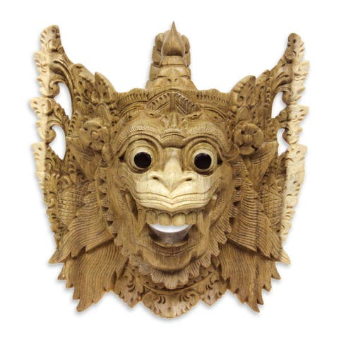 Handmade Hanoman The White Monkey Wood Mask (Indonesia)