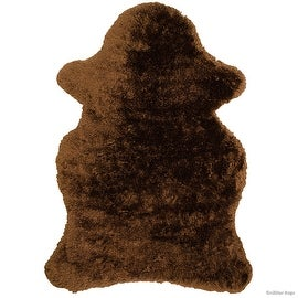 "Allstar Chocolate Rug, High Quality Faux Sheep / Polar Bear Shape, No-Shedding, Ultra-Extended Pile Height Shag (4' 11"" x 7' 0"")"