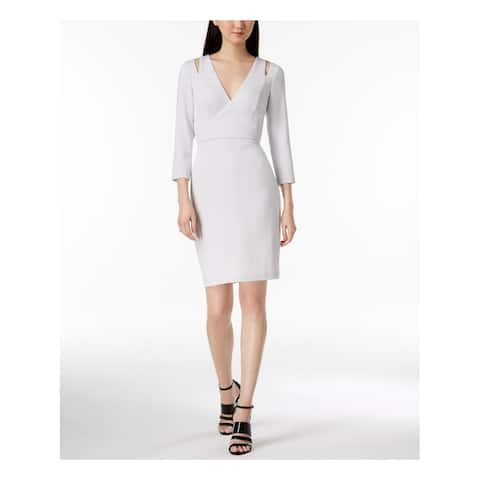 CALVIN KLEIN Womens Ivory Shoulder Cutout Shimmer 3/4 Sleeve V Neck Above The Knee Sheath Wear To Work Dress Size: 12