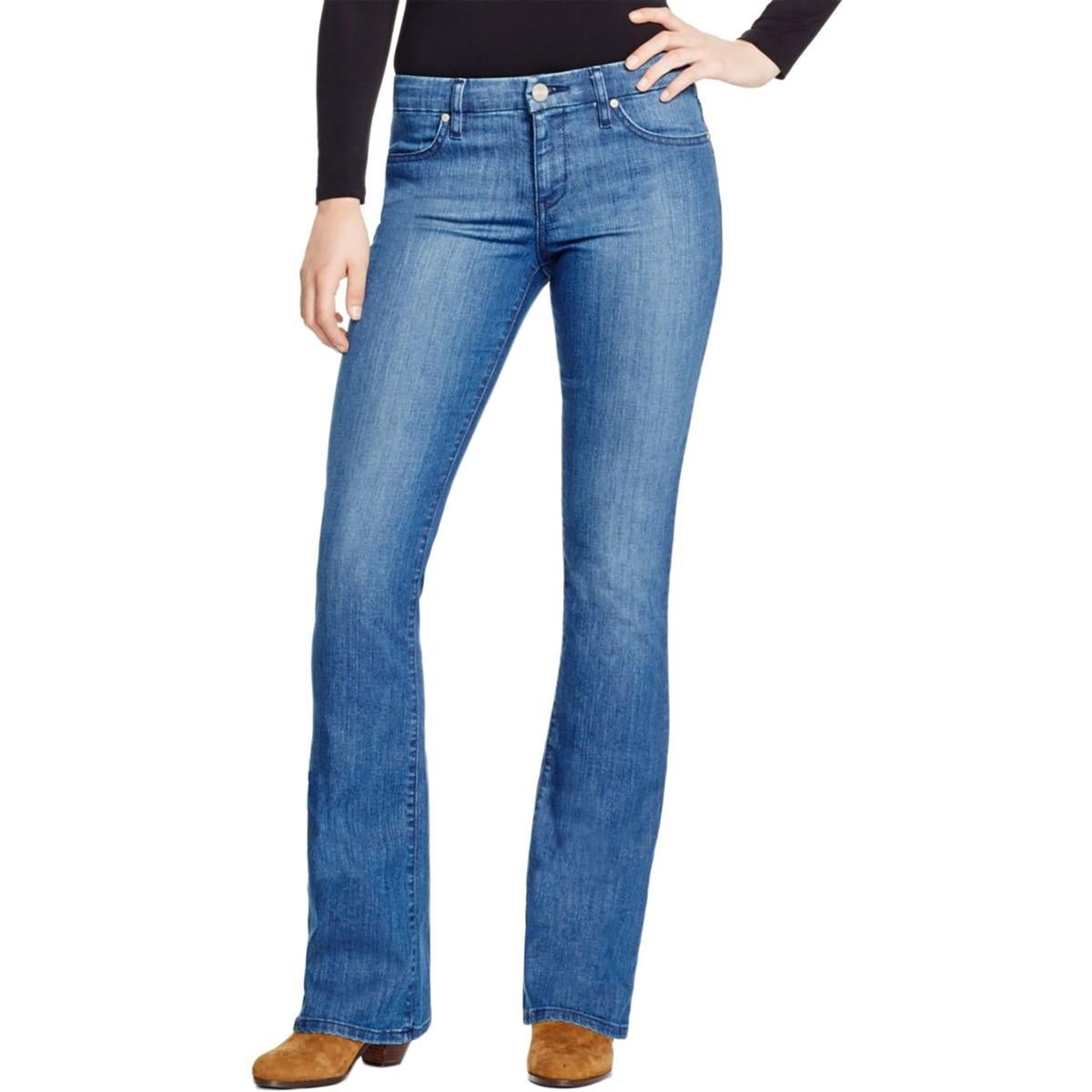 Sanctuary Womens Alexa Flare Jeans Mid-Rise Medium Wash - Thumbnail 3