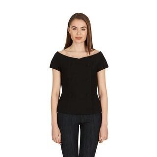 Dior Women's Black Double Breasted Off the Shoulder Vest