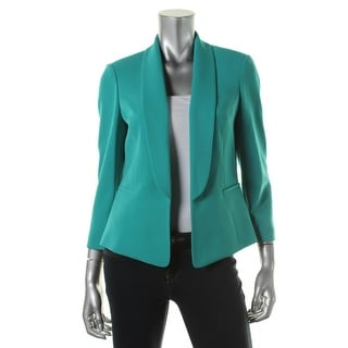 Kasper Womens Stretch Shoulder Pads Open-Front Blazer - 14