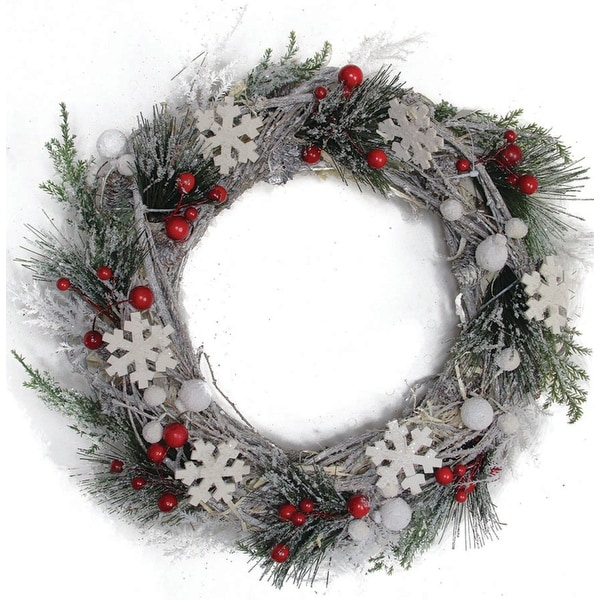 "13"" Snowflakes and Berries Winter Foliage Christmas Wreath - Unlit - WHITE"