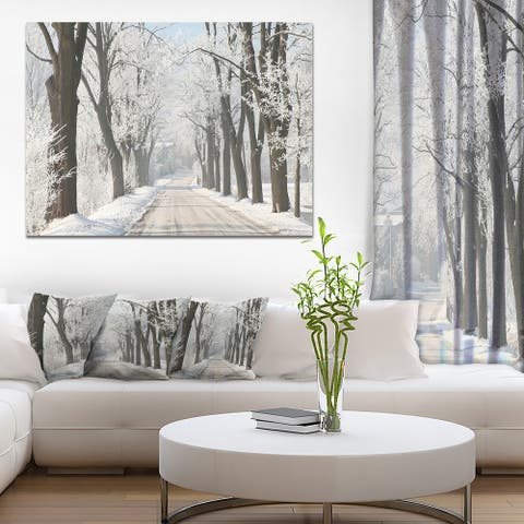 Designart 'Winter Lane in Countryside' Large Forest Artwork Print on Canvas