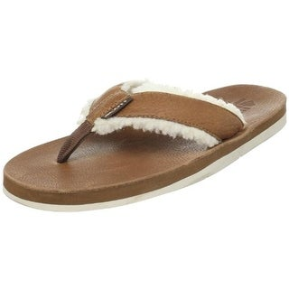 Scott Hawaii Mens Niihau Leather Faux Fur Flip-Flops - 9 medium (d)