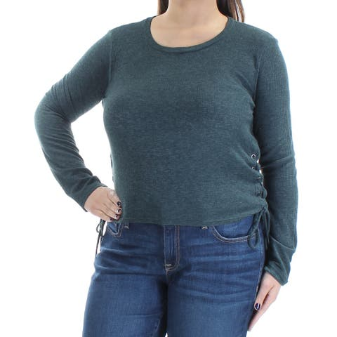 CHELSEA SKY Womens New 1210 Green Jewel Neck Long Sleeve Casual Top XL