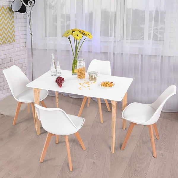 Dining Table Sets Black And White Dining Table 4 Chairs: Shop Costway 5 Piece Mid-Century Dining Set Rectangular