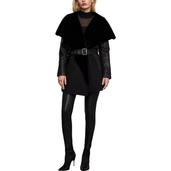 BCBGMAXAZRIA Womens Summer Midi Coat Leather Dressy - Black. Opens flyout.