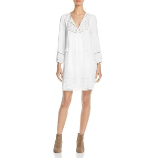 Joie Womens Chayna Casual Dress Eyelet 3/4 Sleeves