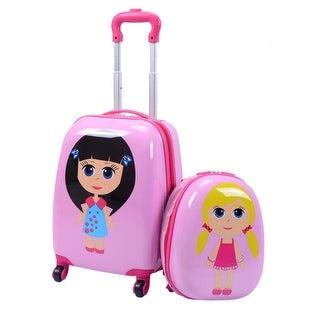 costway 2pc kids girls luggage set suitcase backpack school travel
