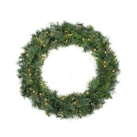 "36"" Pre-Lit Mixed Cashmere Pine Artificial Christmas Wreath - Clear Lights"