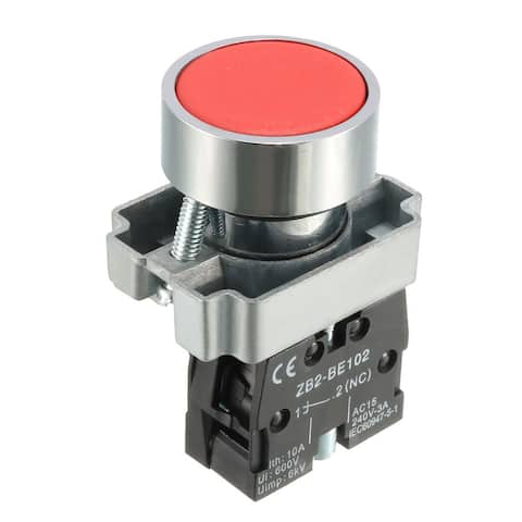 22mm Mounting Hole Round Red Sign Emergency Stop Push Button Switch SPST NC