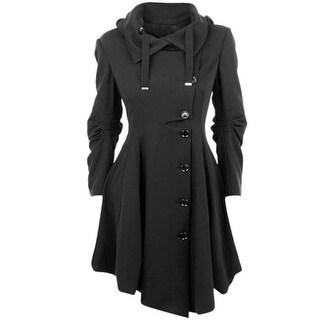 Coat Stand Collar Long Sleeve Women Overcoat Elegant Single-Breasted Slim