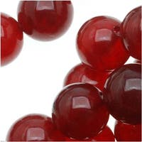 Raspberry Red Candy Jade 8mm Round Beads / 15.5 Inch Strand