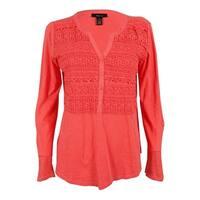 Style & Co. Women's Tab Sleeve Crochet Trim Top - deepsea coral - s