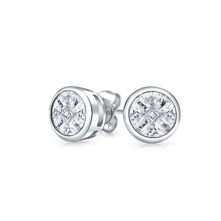 Bling Jewelry Round Invisible Cut CZ Stud earrings 925 Sterling Silver 5mm