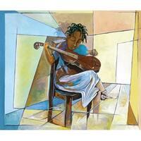 ''Little Musician II'' by Nathaniel Barnes African American Art Print (14 x 16.5 in.)