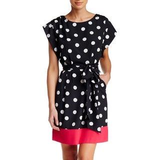 Eliza J Belted Polka Dot Shift Dress with Pockets 6 White Black Pink