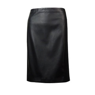 Lauren Ralph Lauren Women's Faux Leather Neoprene Pencil Skirt - Black