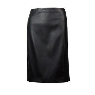 Lauren Ralph Lauren Women's Faux Leather Neoprene Pencil Skirt - Black - 12