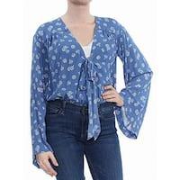 Free People Blue Women's Size Large L Floral Print Tie Front Blouse